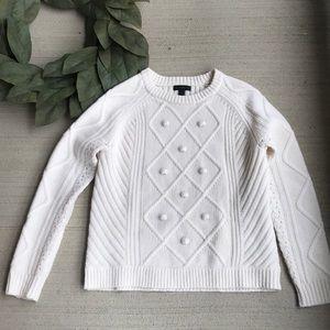 J Crew Pom Pom Cream Sweater XS